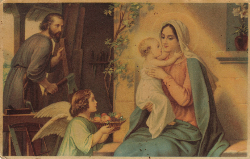 Holy family, postcard