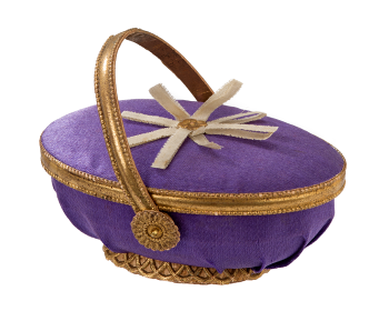Dresden cardboard, candy container covered with violet fabric