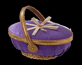 Dresdner Pappe, Füllbehälter mit violettem Stoff bespannt