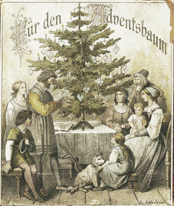 """For the Advent Tree"", packaging of the vine leaves, art design Carl Gottlob Schönherr"