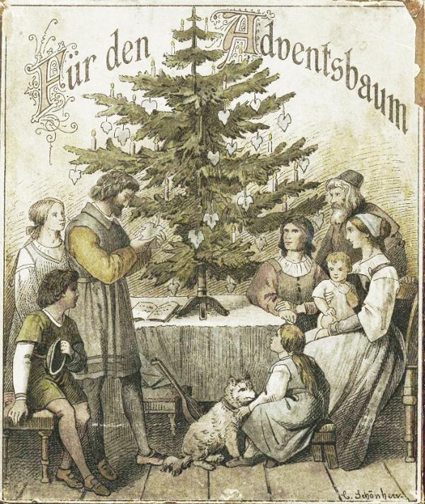 """""""For the Advent Tree"""", packaging of the vine leaves, art design Carl Gottlob Schönherr"""
