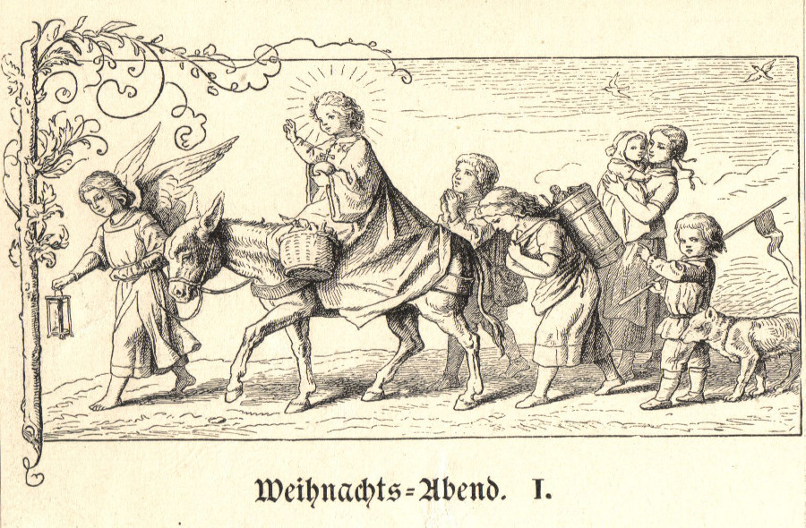 Christkind auf Esel, Deutsches Kinderbuch 1905