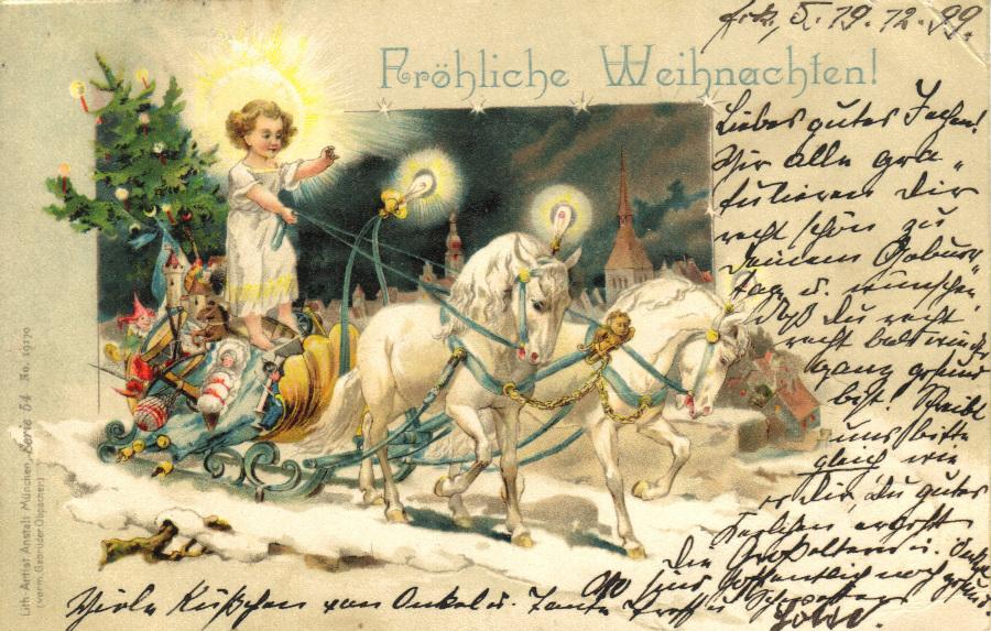 Christkind auf Pferdeschlitten, Postkarte datiert 1899