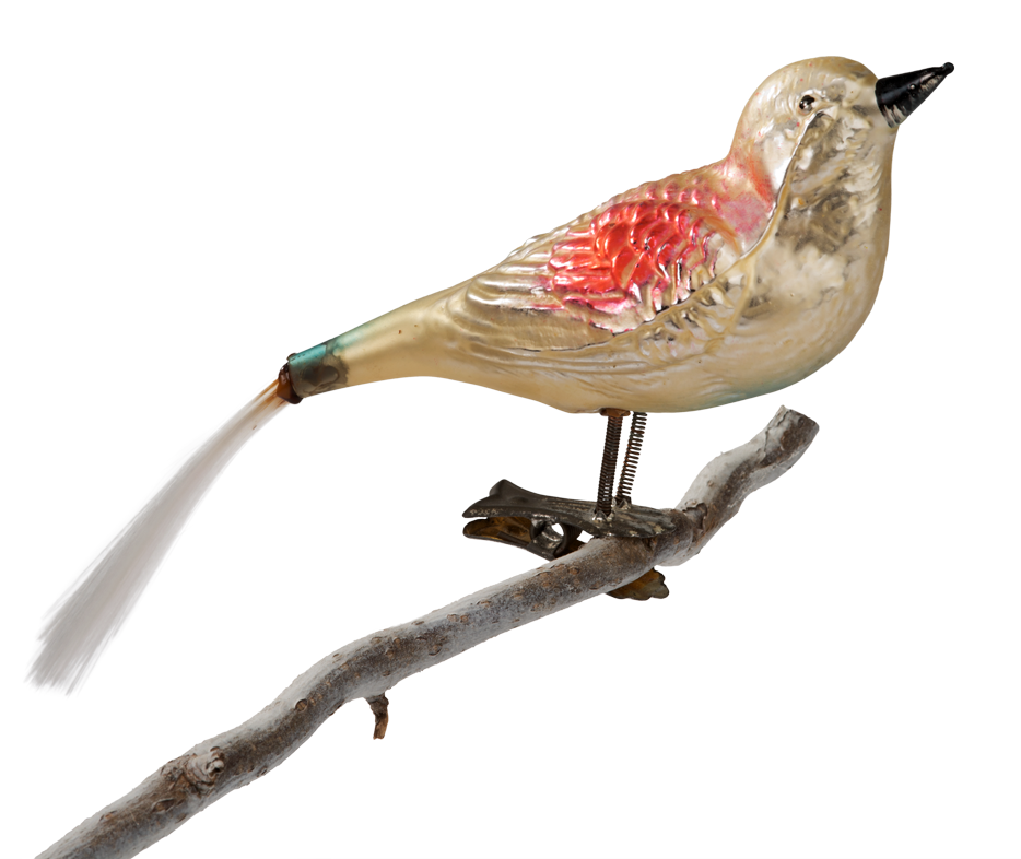 Formed glass, bird with glass silk tail