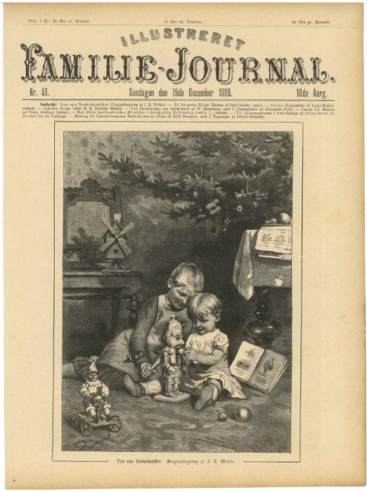 Grafik, Kinder spielen mit Nussknacker, 1886