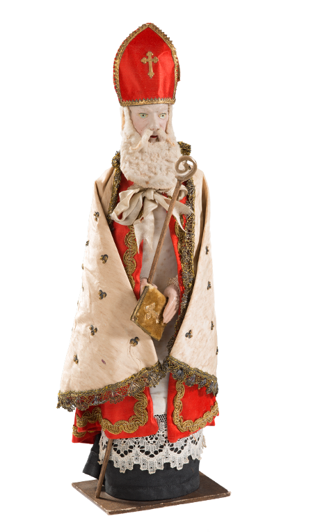 Candy container, Saint Nicholas, head and hands formed of dough