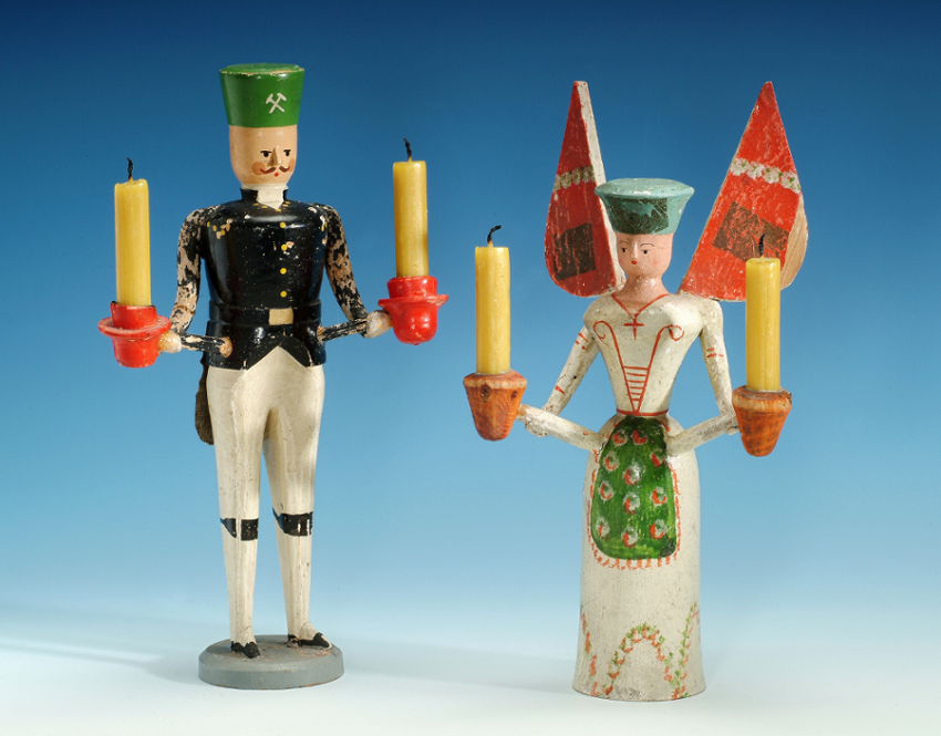 Candle bearers from the Erzgebirge, miner and angel