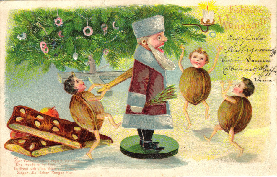 Postcard, nutcracker surrounded by nut children, 1906