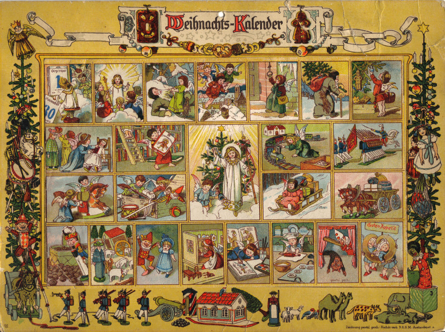Christmas calendar around 1910, In the Land of the Christ Child, art design Ernst Kepler and Gerhard Lang