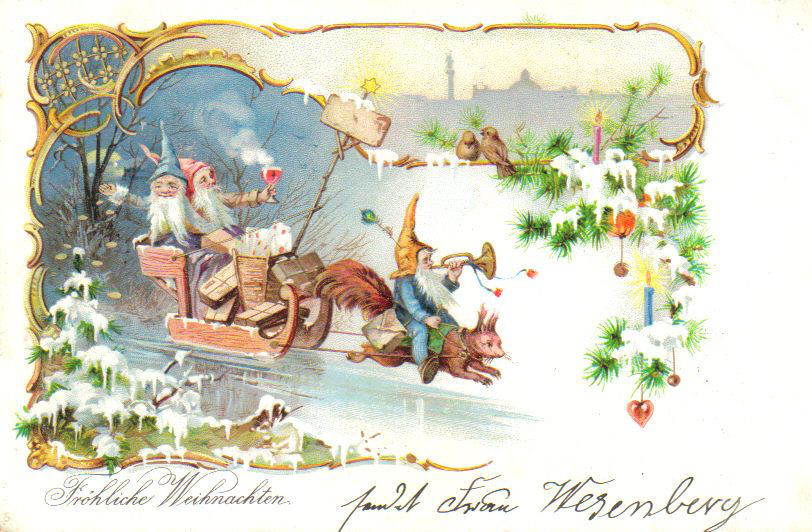 Gnomes on a squirrel-drawn sleigh, postcard around 1900