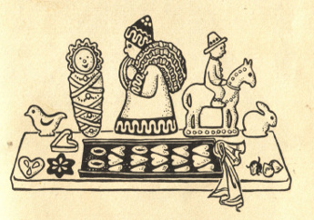 Weihnachtsbäckerei, Fatschenkindl und Weihnachtsmann