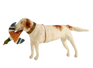 Cotton wool ornament, hund retrieving mallard duck
