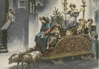 Christkind im Wagen gezogen von Schafen